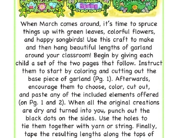 March: Grow Some Garland - Bulletin Board worksheet