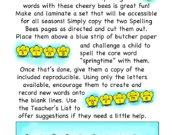 March: Springtime Spelling Bees teaching resource
