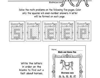 March: Math Horse Fun teaching resource