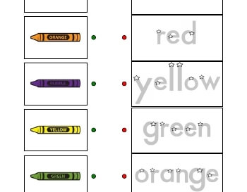 Match Crayons with Traceable Word worksheet