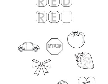 Coloring in red pictures teaching resource