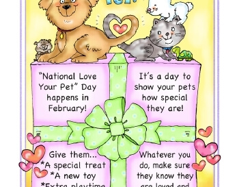 teach February: Love Your Pet Poster