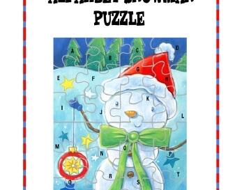 Alphabet Snowman Puzzle worksheet