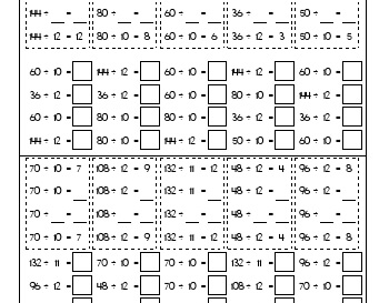 Division from ÷10 to ÷12 teaching resource