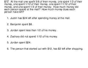 teach Logic Puzzle: Money spent at the mall
