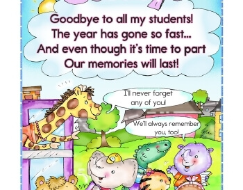 teach May/June: Goodbye And Thank You Classroom Printable
