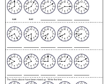 May/June: Clocks and Counting by Fives and Tens worksheet
