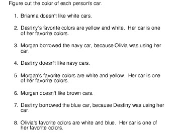 Logic Puzzle: Color of cars teaching resource