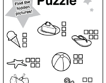 July/August: Hidden Pictures: July Themes Puzzle teaching resource