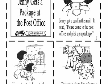 July/August: Mini Book - Jenny Gets a Package at the Post Office (PDF file) worksheet