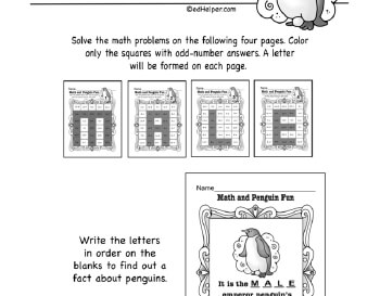 February: Math Penguin Fun worksheet