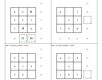 July/August: Addition Squares worksheet