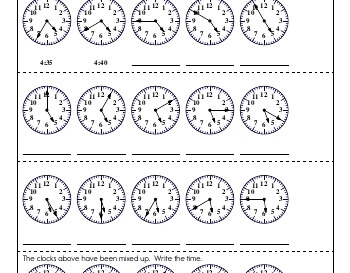 July/August: Clocks and Counting by Fives and Tens worksheet