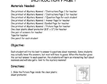 teach February: Mystery Mammal