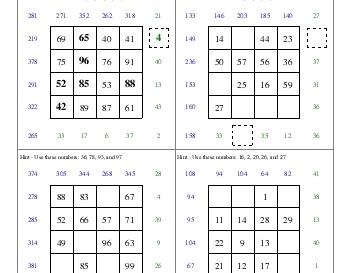 July/August: Subtraction Squares worksheet