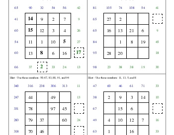 teach July/August: Subtraction Squares
