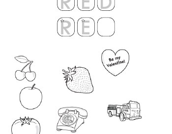 September: Coloring in red pictures teaching resource