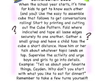 teach September: Conversation Cube