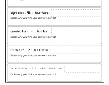 September: Math Analogies teaching resource