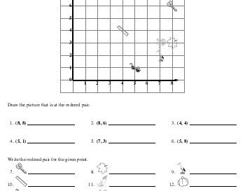 Ordered Pairs Printables with Pictures worksheet