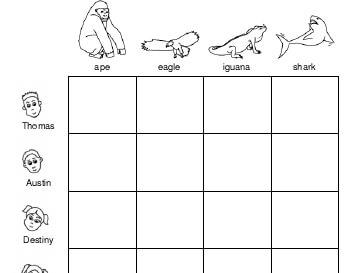 Logic Puzzle: Favorite Animals worksheet