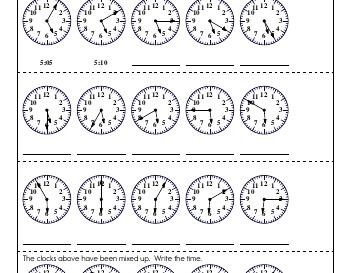 Clocks and Counting by Fives and Tens worksheet