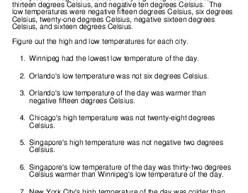 Logic Puzzle: High and low temperatures teaching resource