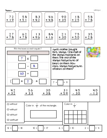 teach 3rd Grade No Prep 2-Digit Addition Book (includes mixed work)