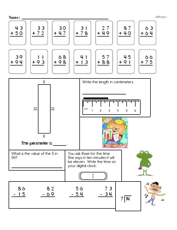 4th Grade No Prep 2-Digit Addition Book (includes mixed work) teaching resource