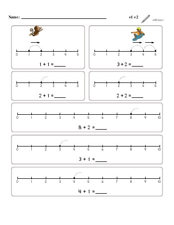teach Numberline Adding +1, +2