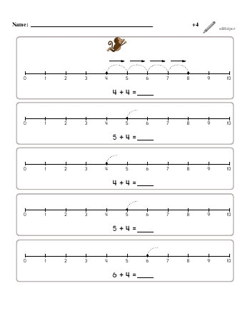 teach Numberline Adding +4