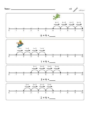 teach Numberline Adding +4