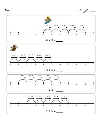 teach Numberline Adding +5