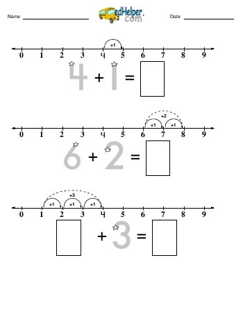 Addition Challenge (numberline from 0 to 9) teaching resource