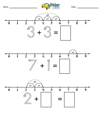 teach Addition Challenge (numberline from 0 to 9)