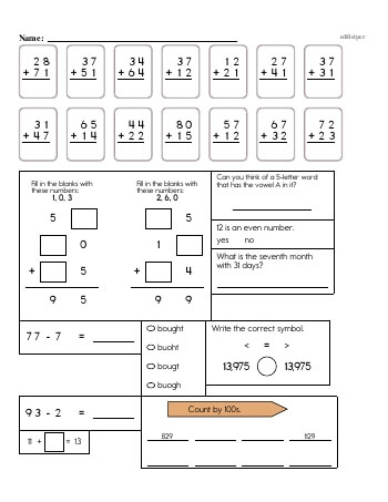 teach 3rd Grade No Prep 2-Digit Addition Book (includes mixed work) [No Carrying]