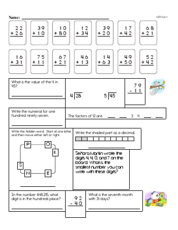4th Grade No Prep 2-Digit Addition Book (includes mixed work) [No Carrying] worksheet