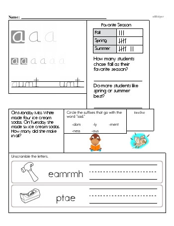 Writing cursive A with second grade mixed work teaching resource