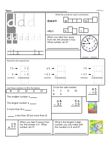 Writing cursive D with second grade mixed work worksheet