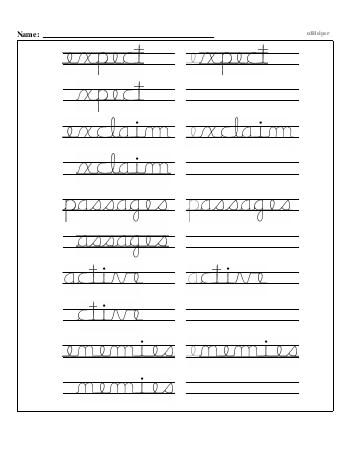 Writing cursive E with third grade mixed work worksheet