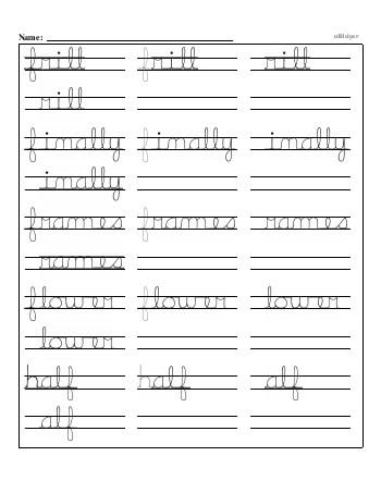 Writing cursive F with third grade mixed work teaching resource