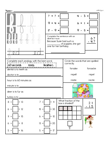 Writing cursive F with third grade mixed work (Book #2) worksheet