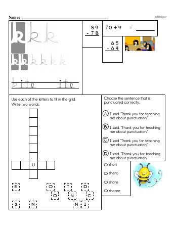 Writing cursive K with third grade mixed work worksheet
