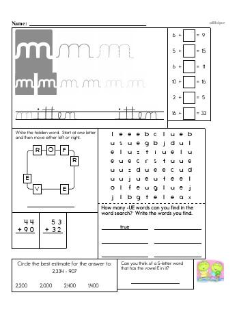 Writing cursive M with third grade mixed work worksheet