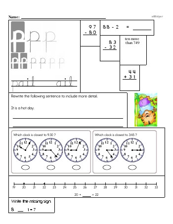 Writing cursive P with second grade mixed work (Book #2) worksheet