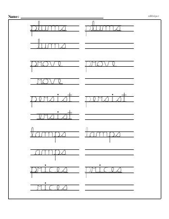 teach Writing cursive P with third grade mixed work