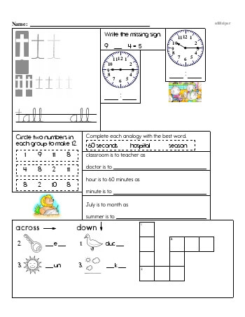 Writing cursive T with second grade mixed work worksheet