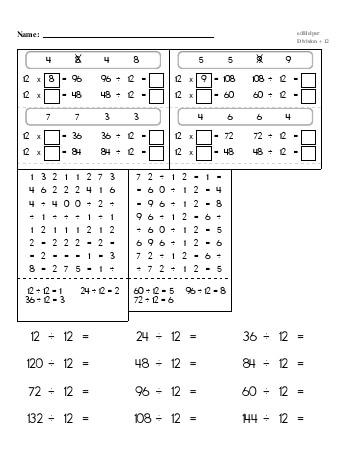 Division ÷12 Workbook worksheet