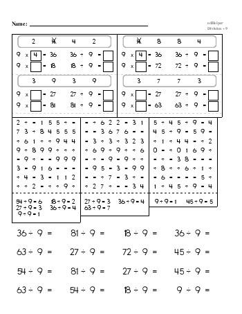 Division ÷9 Workbook teaching resource