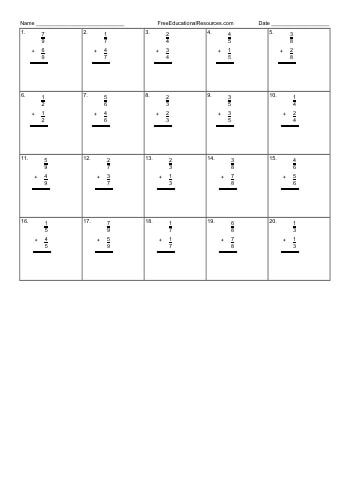 Adding fractions with like denominators - Worksheet #2 teaching resource